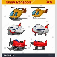 Fun Cute Cartoon Air Transportation Vehicles Vector Icon Set Helicopter, Airplanes Funny