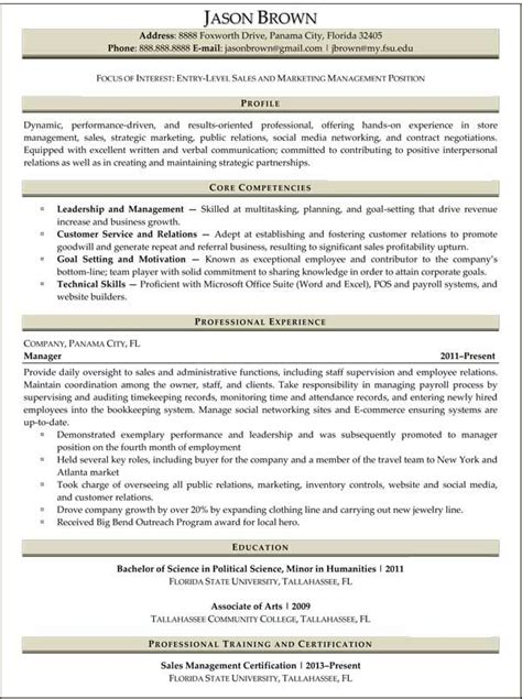 Advertising Resumes Entry Level by Entry Level Marketing Resume Sles Entry Level Sales