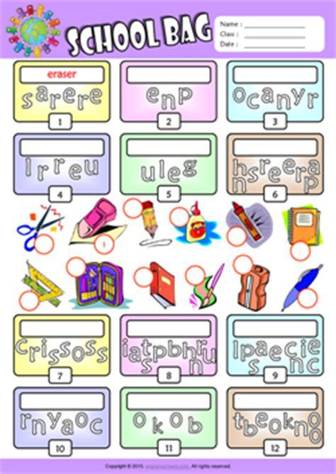 schoolbag esl printable worksheets  kids