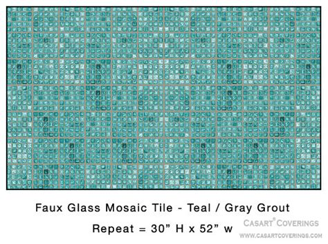 removable reusable teal faux glass mosaic tile