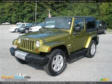 dark green jeep 2008 jeep wrangler sahara 4x4 rescue green metallic dark