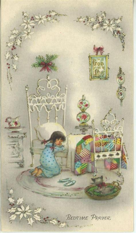 vintage christmas girl praying white bed quilt cat kitten