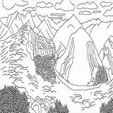 Coloring Mountains Mountain Scene Andes Printable Avalanche Designlooter Gemerkt sketch template