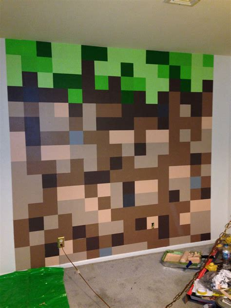 Minecraft Themed Bedroom Wallpaper by Minecraft Bedroom Dirt Block Wall Minecraft Bedroom