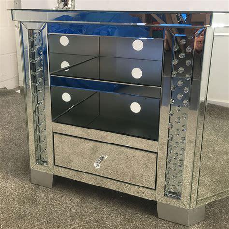 Corner Floating Crystal Mirrored 1 Drawer TV Cabinet