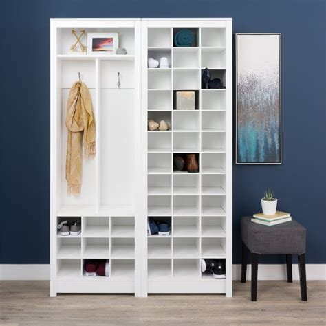 Space Saving Shoe Cabinet by Prepac Space Saving 36 Cubby Shoe Storage Cabinet In White