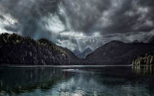 Nature, Landscape, Lake, Forest, Fall, Clouds, Sun, Rays