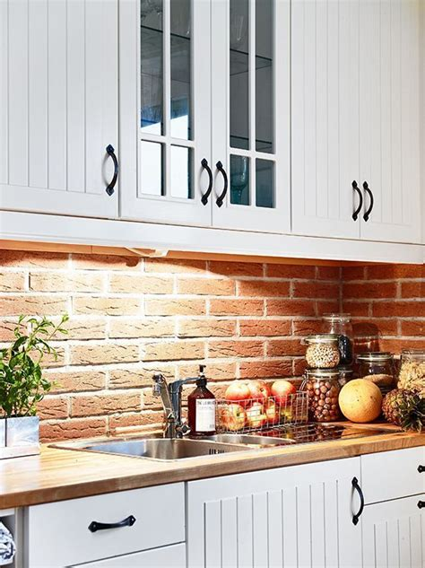 Brick Kitchen Cupboards by White Cabinets With Brick Back Splash