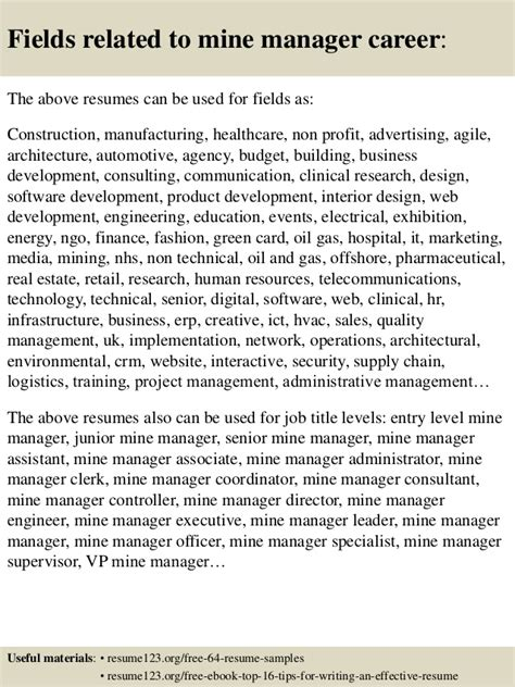 top 8 mine manager resume sles