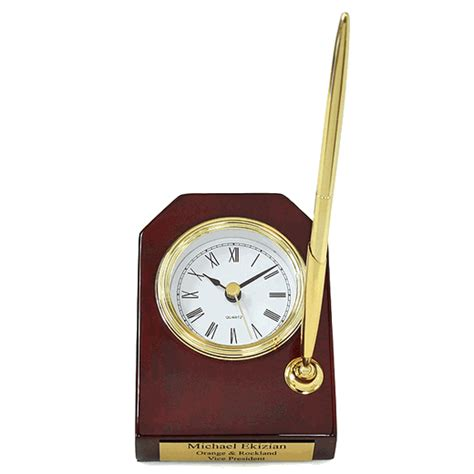 desk clock pen set piano finish personalized desk clock pen set clocks