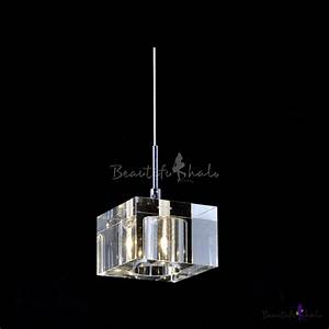 Stunning mini pendant light embedded with clear crystal