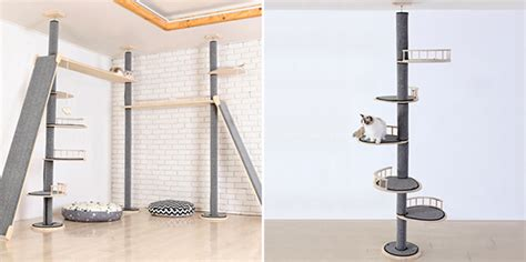 floor to ceiling tension rod shelves cat towers from korea hauspanther