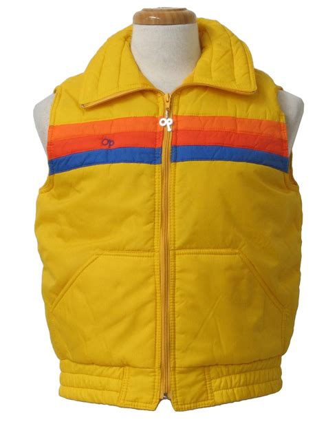 70s Vintage Vest 70s Ocean Pacific Mens Yellow Blue