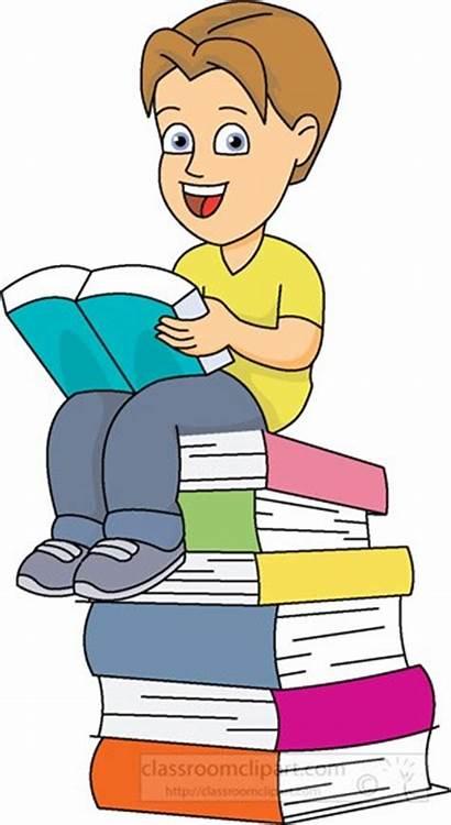 Books Sitting Boy Pile Clipart Children Classroom