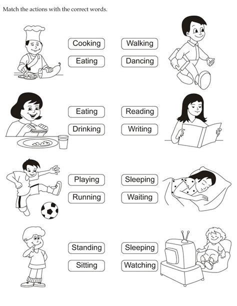 preschool action words worksheet  kindergarten
