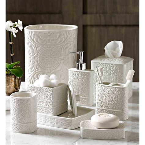 home bedminster damask bath accessory collection this stylish bath accessory collection
