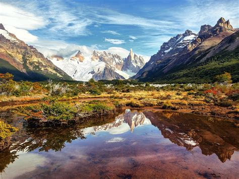Argentina Patagonia Lake Mountains Sky Clouds South
