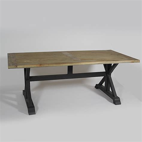 table en pin pied m 233 tal noir