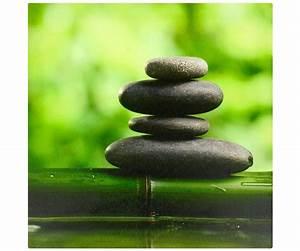 Tableau Toile Cadre Zen Bambou Colonne Galets Pose Nature