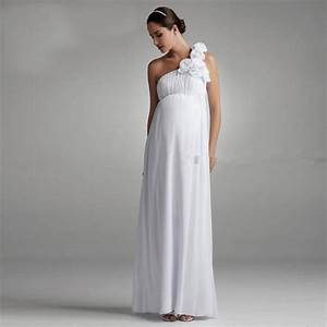 simple bohemian maternity bridal dress one shoulder With maternity beach wedding dresses