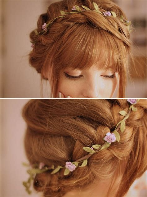 cute flower braided updo  rosebud band hairstyles weekly