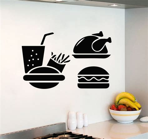 stickers ecriture cuisine room wall decals fast food burger decal kitchen