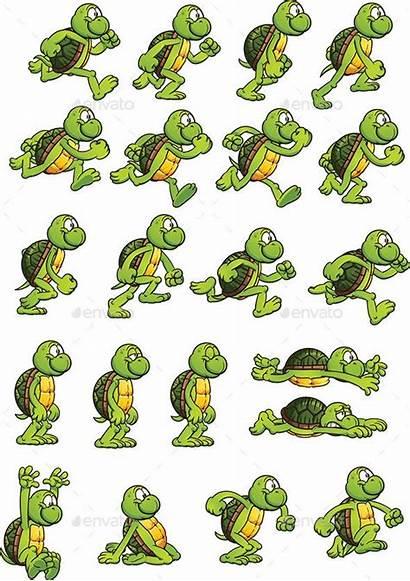 Sprites Sprite Sheet Turtle 2d Cartoon Combine