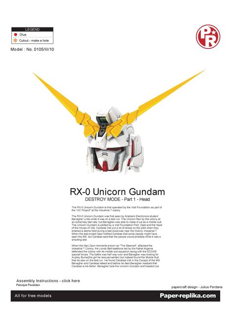 geeks republic unicorn gundam  paper replika part  head
