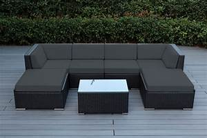 beautiful outdoor patio wicker furniture deep seating 7pc With ohana outdoor sectional sofa