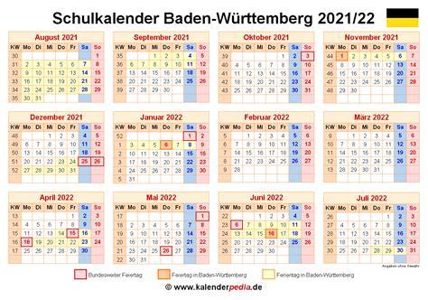 Kalender 2021 ferien baden wurttemberg feiertage from www.schulferien.org. Schulkalender 2021/2022 Baden-Württemberg für Excel