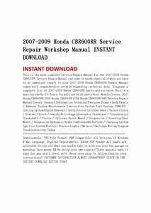 2007 2009 Honda Cbr600rr Service Repair Workshop Manual