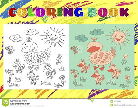 Coloring Book For Kids. Sketchy Little Pink Duck With