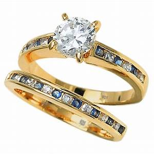 925 sterling silver blue sapphire cubic zirconia wedding for Blue sapphire wedding ring set