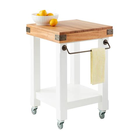 kitchen island rolling cart butcher block rolling kitchen island cart the container store