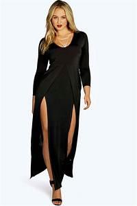 plus esme robe maxi pres du corps fendue devant a With robe décolleté plongeant devant