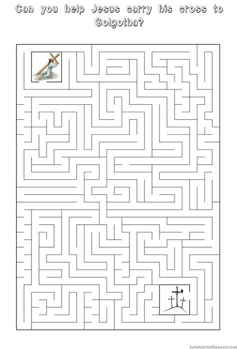 easter maze sunday school activity worksheet easter