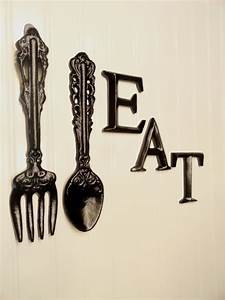 Black kitchen wall decor large fork spoon eat