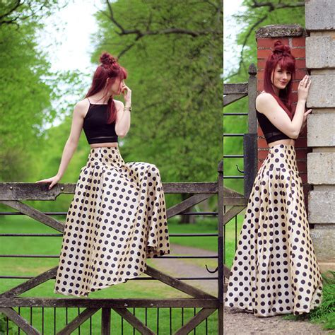 shabby apple polka dot dress megan g shabby apple maxi skirt missguided crop top polka dot lookbook