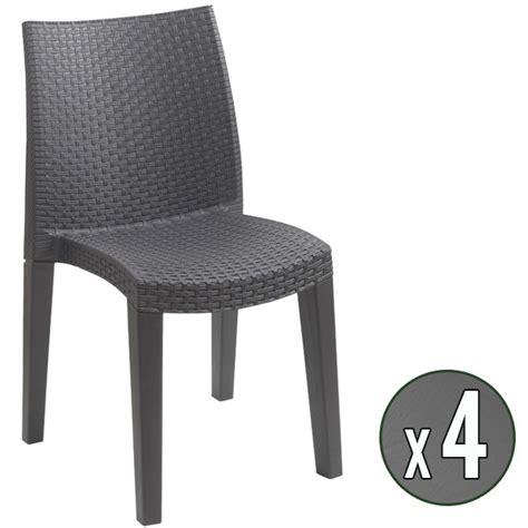 chaise de jardin en résine tressée lot de 4 chaises de jardin anthracite en résine tressée trigano store