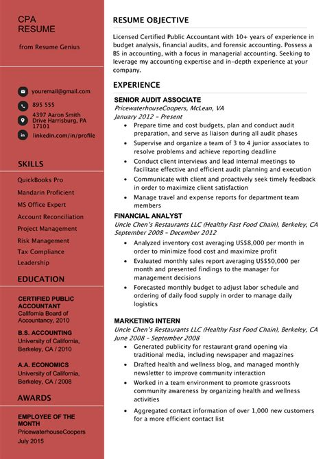 certified public accountant cpa resume  tips