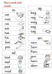 english worksheets short words handout   images