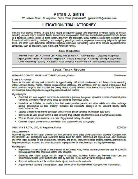 Attorney Resumes by Trial Attorney Resume Exle