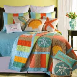 Home Design Bedding Bedroom Black Bedroom Side Table And Lovely Blue White Themed Coral Quilt Bedding Set
