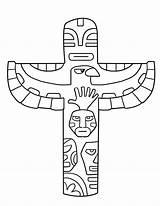 Coloring Pages Totem Pole Alaska Animal Native Printable American sketch template