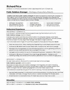 Sample Resume For A Public Relations Manager