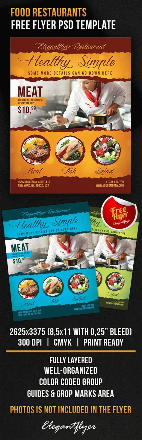 Template Brochure For Restaurant By Elegantflyer Food Restaurants Free Flyer Psd Template By Elegantflyer