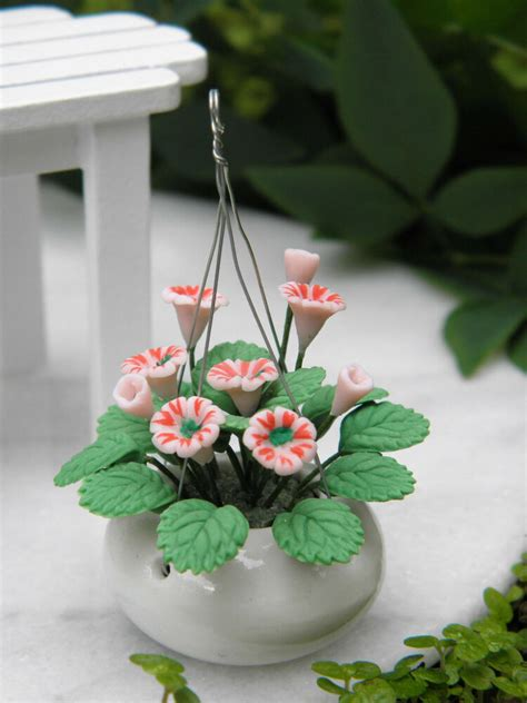 miniature dollhouse fairy garden pink flowers  white