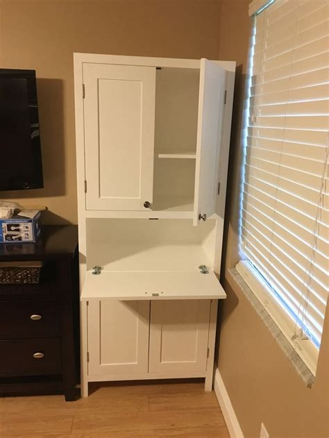 secretary desk  storage cabinet diy living room