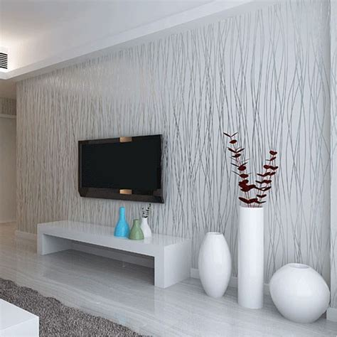 Graue Tapeten Wohnzimmer by Non Woven Fashion Thin Flocking Vertical Stripes Wallpaper