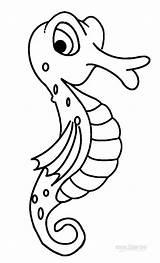 Seahorse Coloring Pages Printable Sea Sheet Drawing Animals Cartoon Cool2bkids Seahorses Outline Getdrawings Simple Ocean sketch template